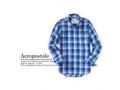 AEROPOSLTEエアロポステール/ブロックチェックボタンダウンシャツ/Long Sleeve Plaid Woven Shirt/palace blue【4212-blue】